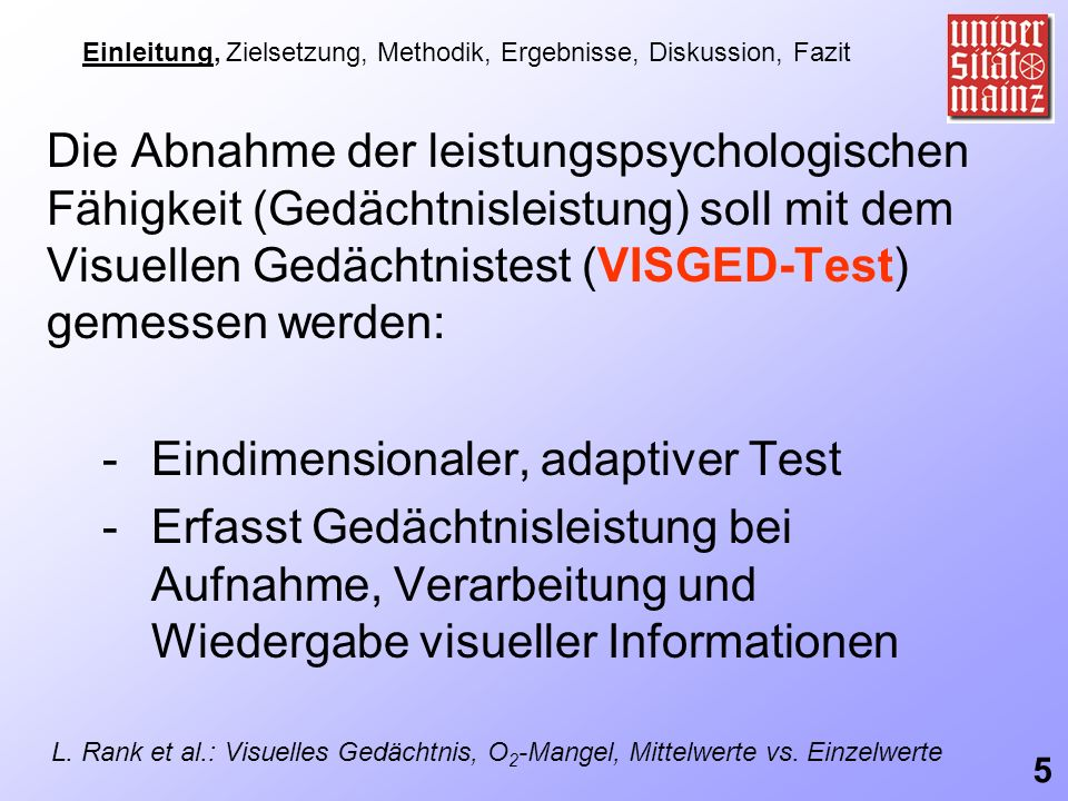 Eindimensionaler, adaptiver Test