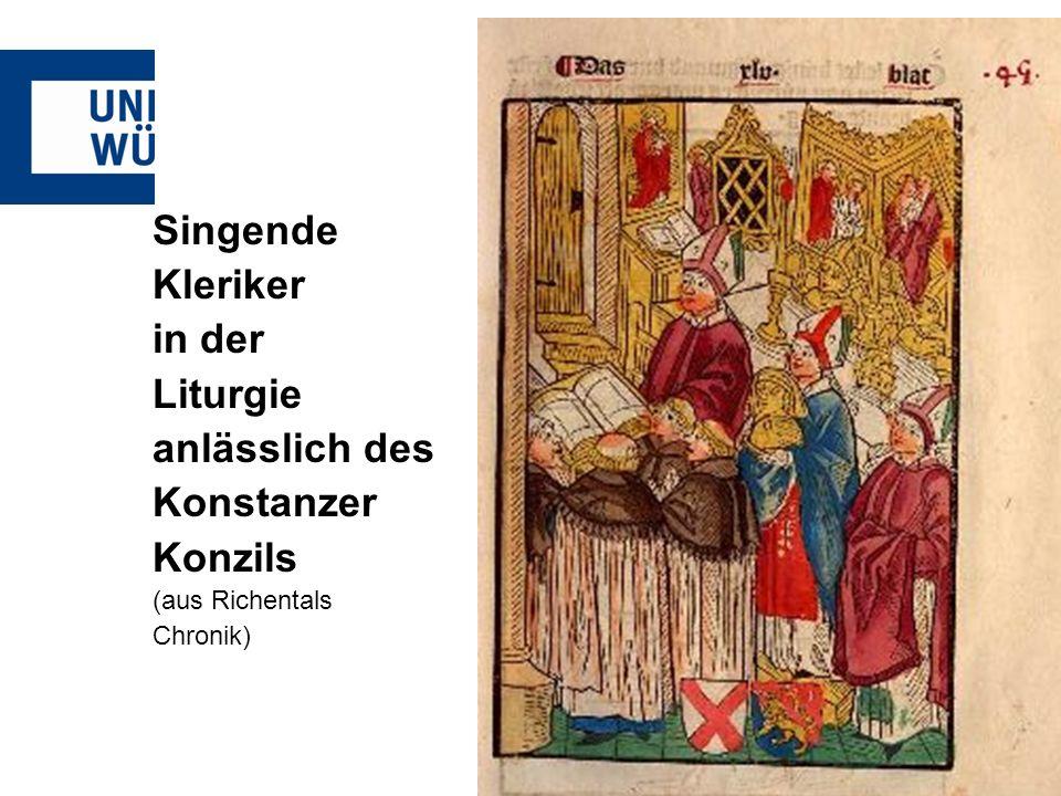 Singende Kleriker in der Liturgie anlässlich des Konstanzer Konzils
