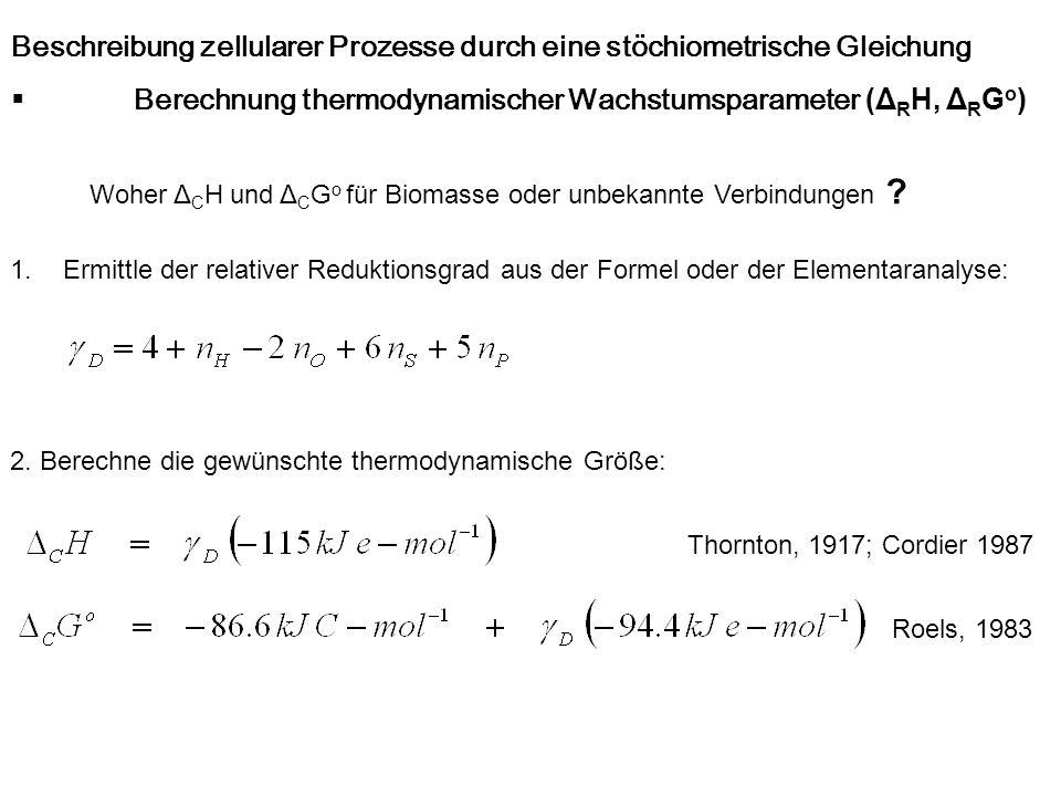 Beschreibung zellularer Prozesse durch eine stöchiometrische Gleichung