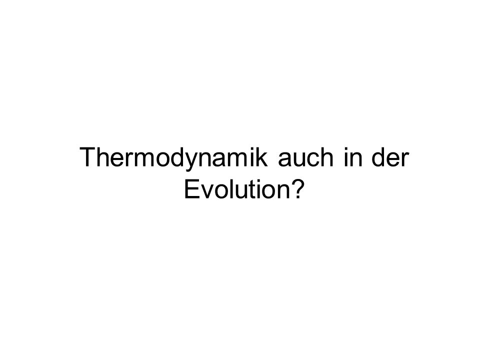 Thermodynamik auch in der Evolution