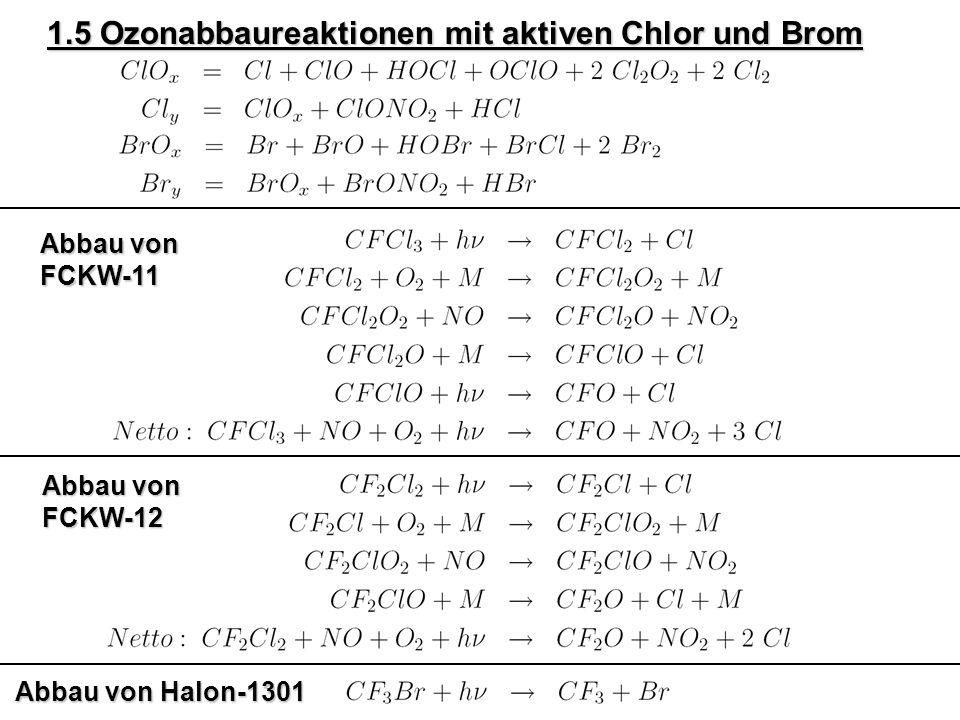 1.5 Ozonabbaureaktionen mit aktiven Chlor und Brom