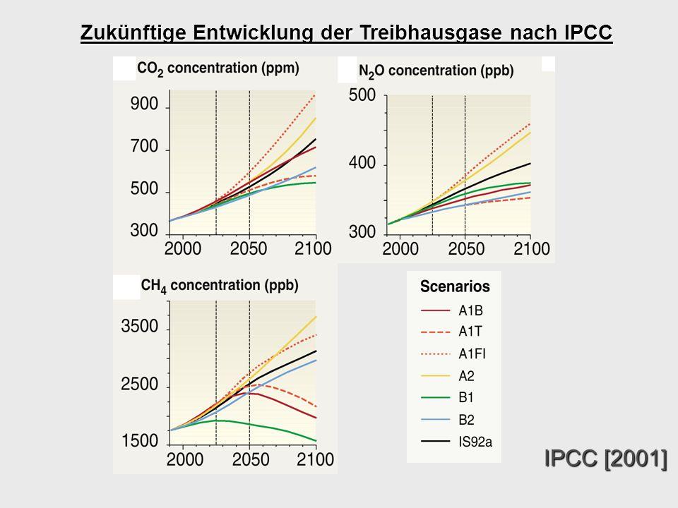 Zukünftige Entwicklung der Treibhausgase nach IPCC