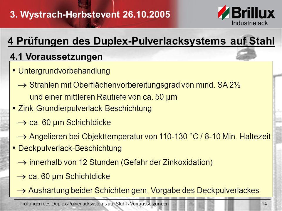 4 Prüfungen des Duplex-Pulverlacksystems auf Stahl