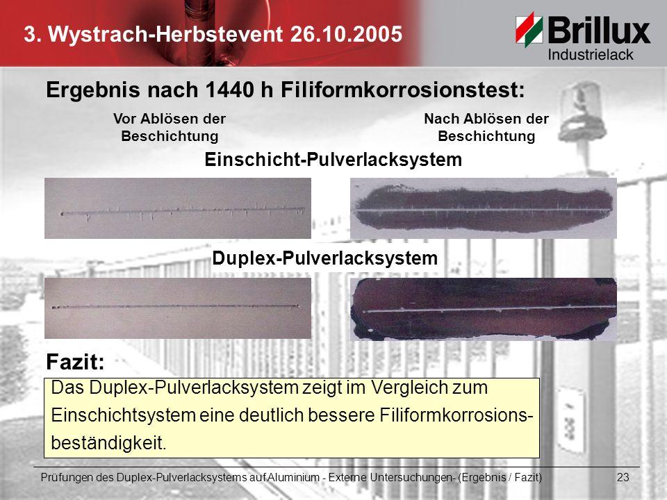 Ergebnis nach 1440 h Filiformkorrosionstest: