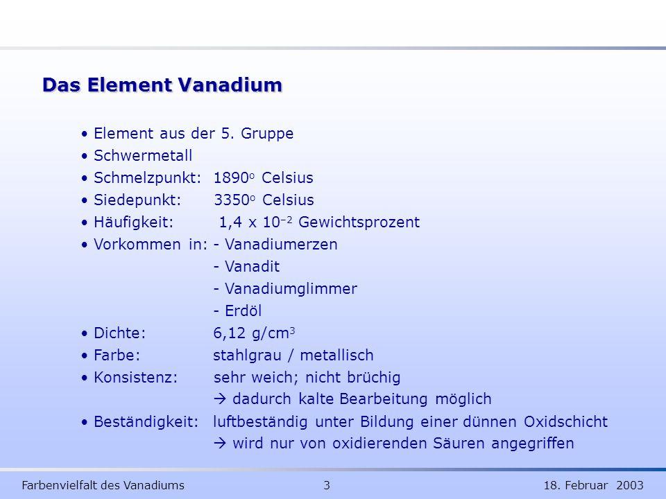 Das Element Vanadium Element aus der 5. Gruppe Schwermetall