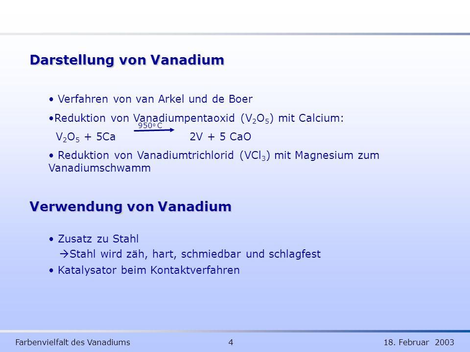 Darstellung von Vanadium