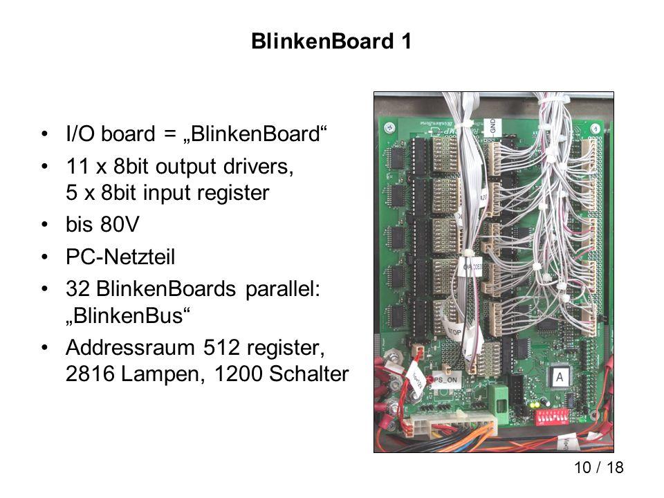 """BlinkenBoard 1 I/O board = """"BlinkenBoard 11 x 8bit output drivers, 5 x 8bit input register. bis 80V."""
