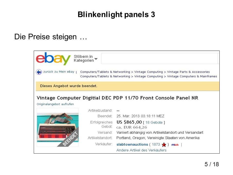 Blinkenlight panels 3 Die Preise steigen …