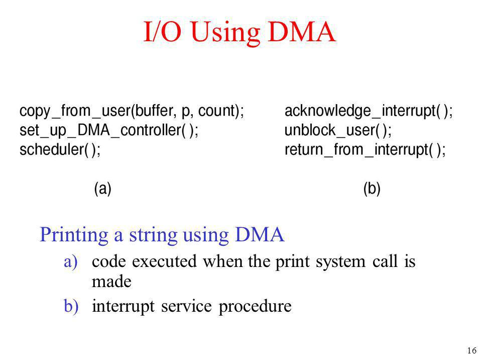 I/O Using DMA Printing a string using DMA