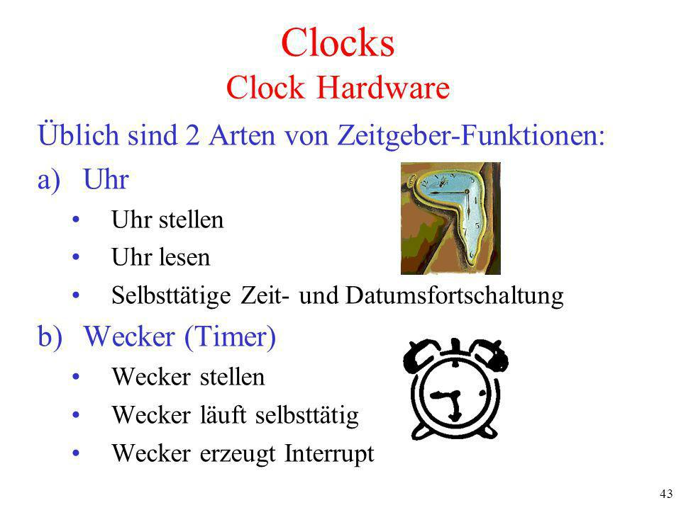 Clocks Clock Hardware Üblich sind 2 Arten von Zeitgeber-Funktionen: