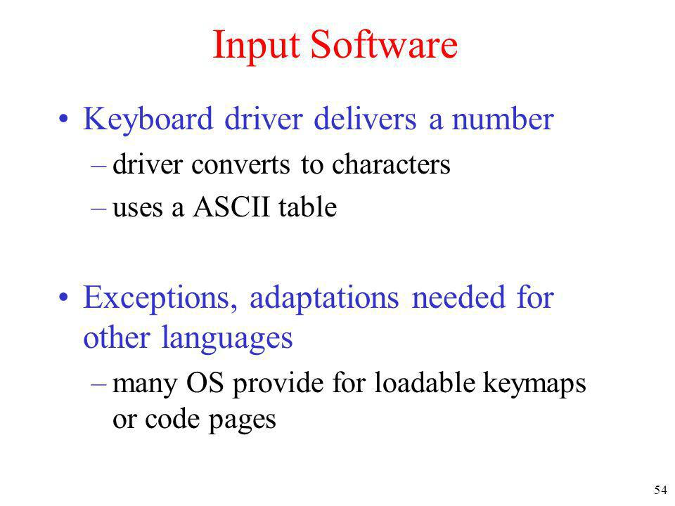 Input Software Keyboard driver delivers a number