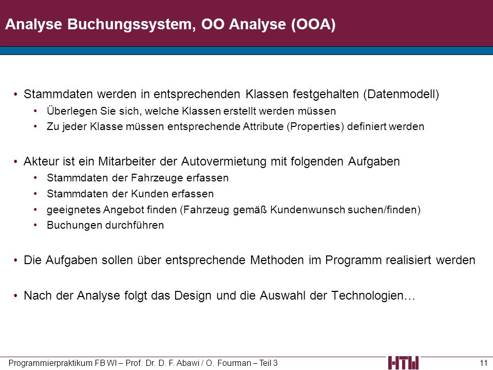 Analyse Buchungssystem, OO Analyse (OOA)