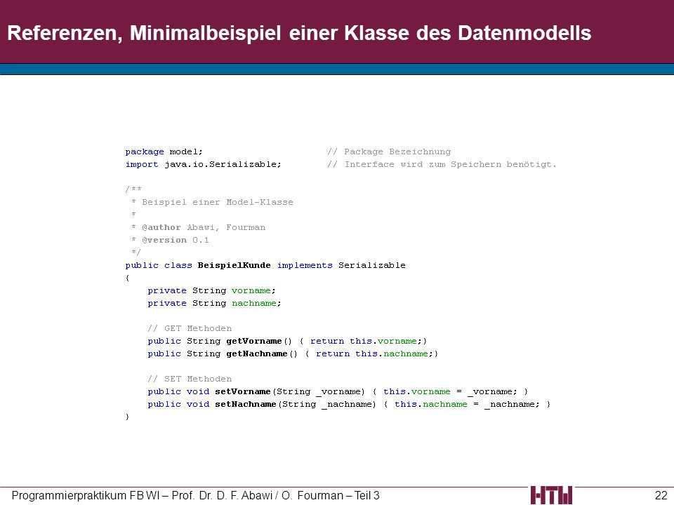 Referenzen, Minimalbeispiel einer Klasse des Datenmodells