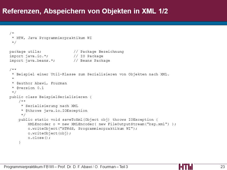 Referenzen, Abspeichern von Objekten in XML 1/2