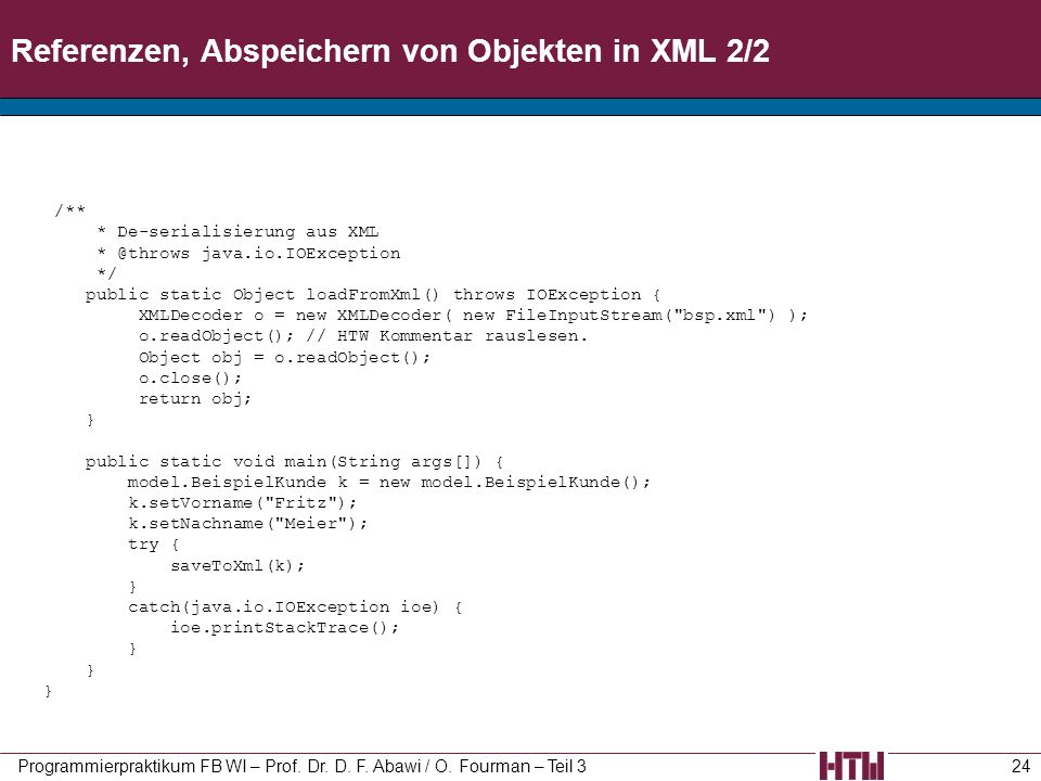 Referenzen, Abspeichern von Objekten in XML 2/2