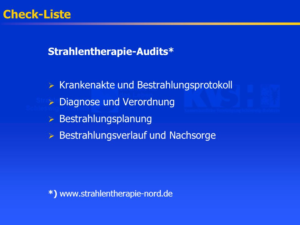 Check-Liste Strahlentherapie-Audits*