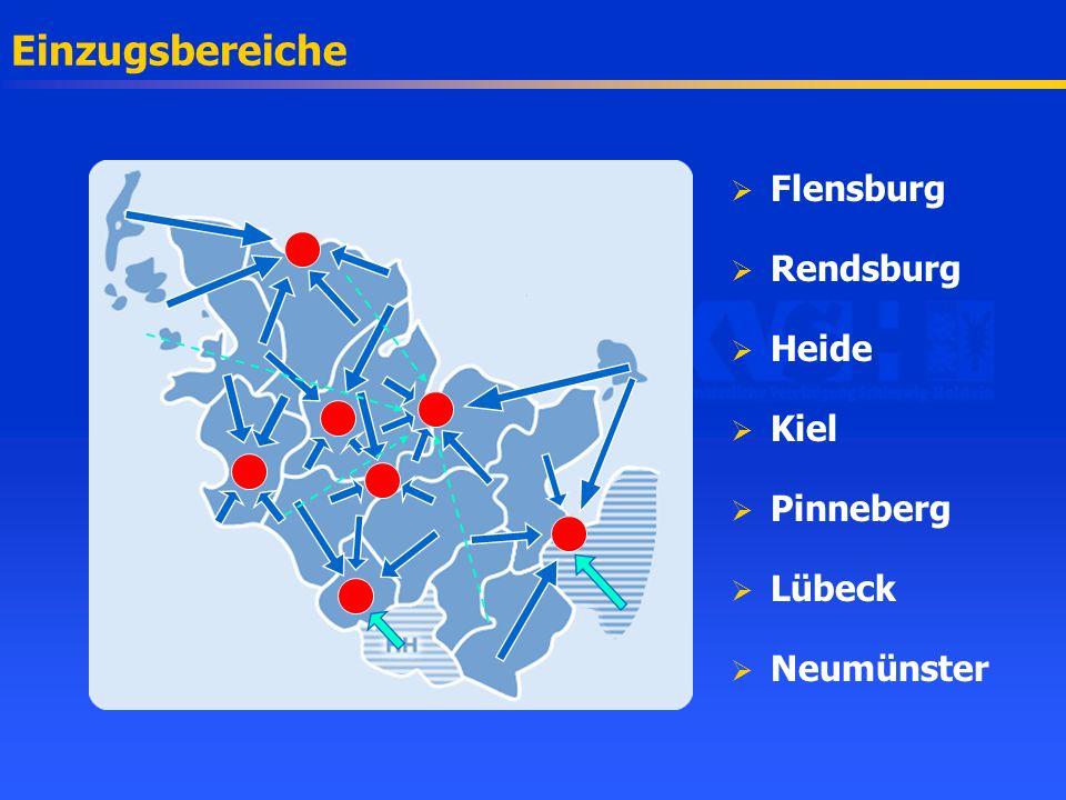 Einzugsbereiche Flensburg Rendsburg Heide Kiel Pinneberg Lübeck
