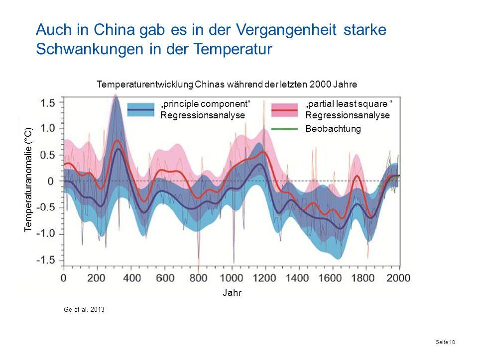 Auch in China gab es in der Vergangenheit starke Schwankungen in der Temperatur