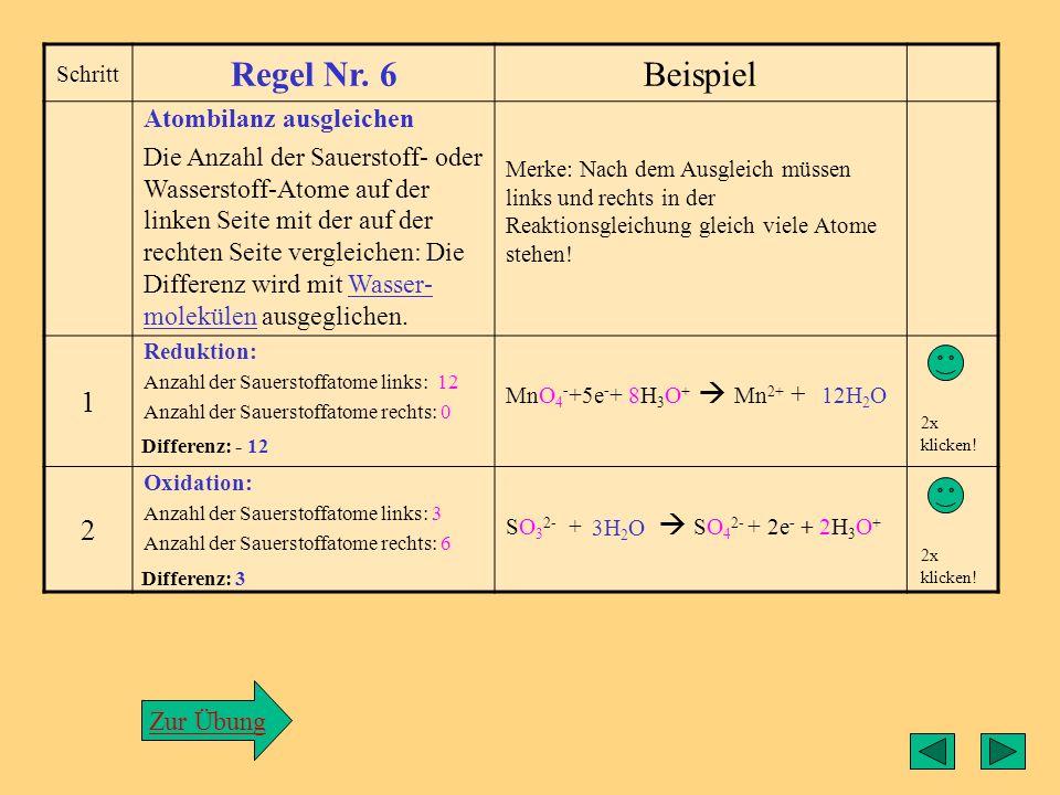 Regel6 Regel Nr. 6 Beispiel 1 2 Atombilanz ausgleichen