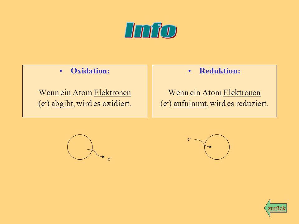 Info Oxidation: Wenn ein Atom Elektronen