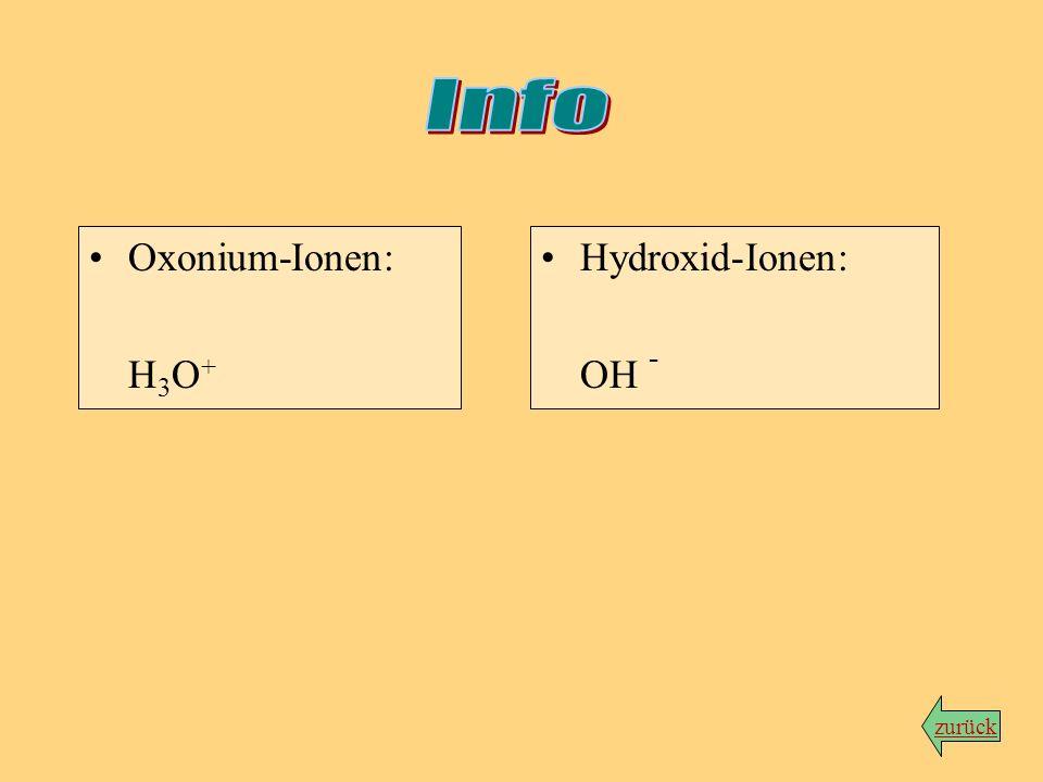 Info Oxonium-Ionen: H3O+ Hydroxid-Ionen: OH - zurück