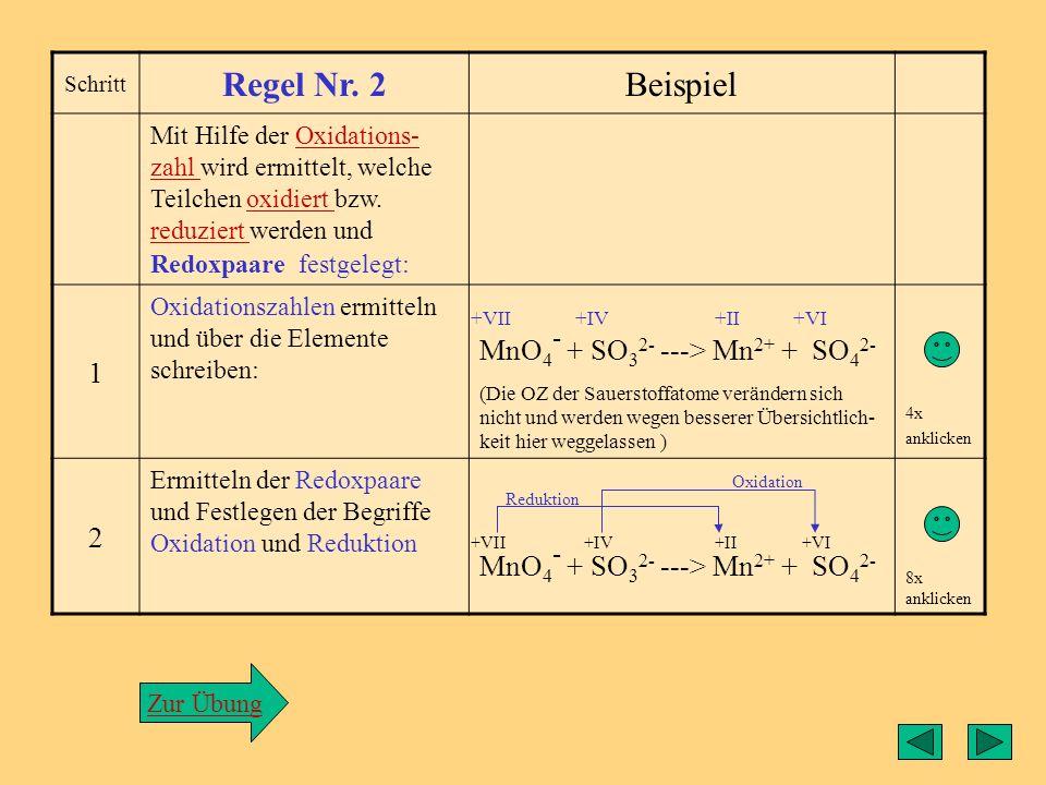 Regel2 Regel Nr. 2 Beispiel 1 MnO4- + SO32- ---> Mn2+ + SO42- 2
