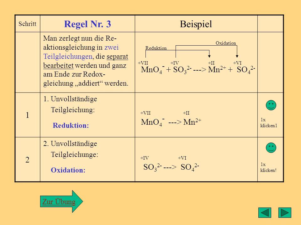Regel3 Regel Nr. 3 Beispiel 1 MnO4- + SO32- ---> Mn2+ + SO42- 2