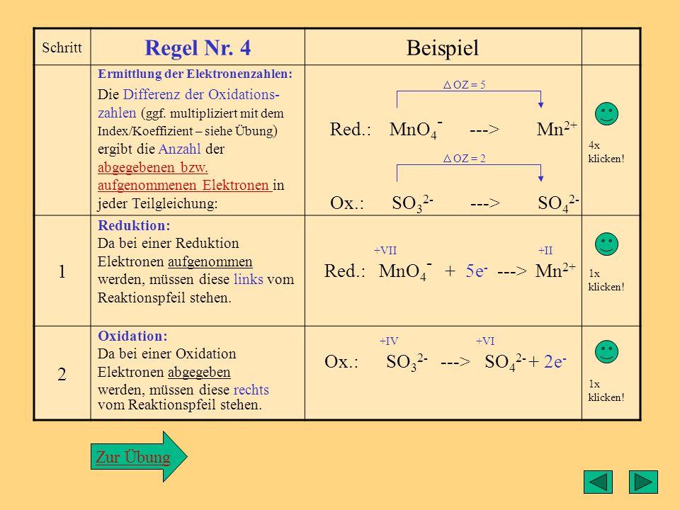 Regel4 Regel Nr. 4 Beispiel 1 Red.: MnO4- ---> Mn2+ 2