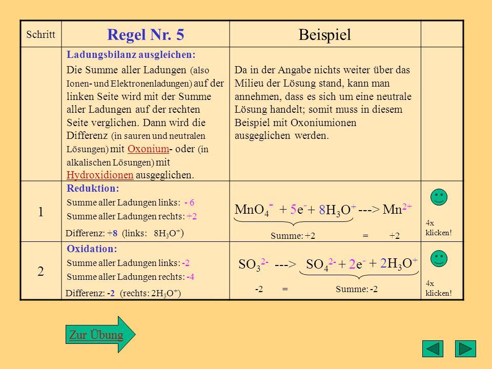 Regel5 Regel Nr. 5 Beispiel 1 MnO4- + 5e- ---> Mn2+ 2