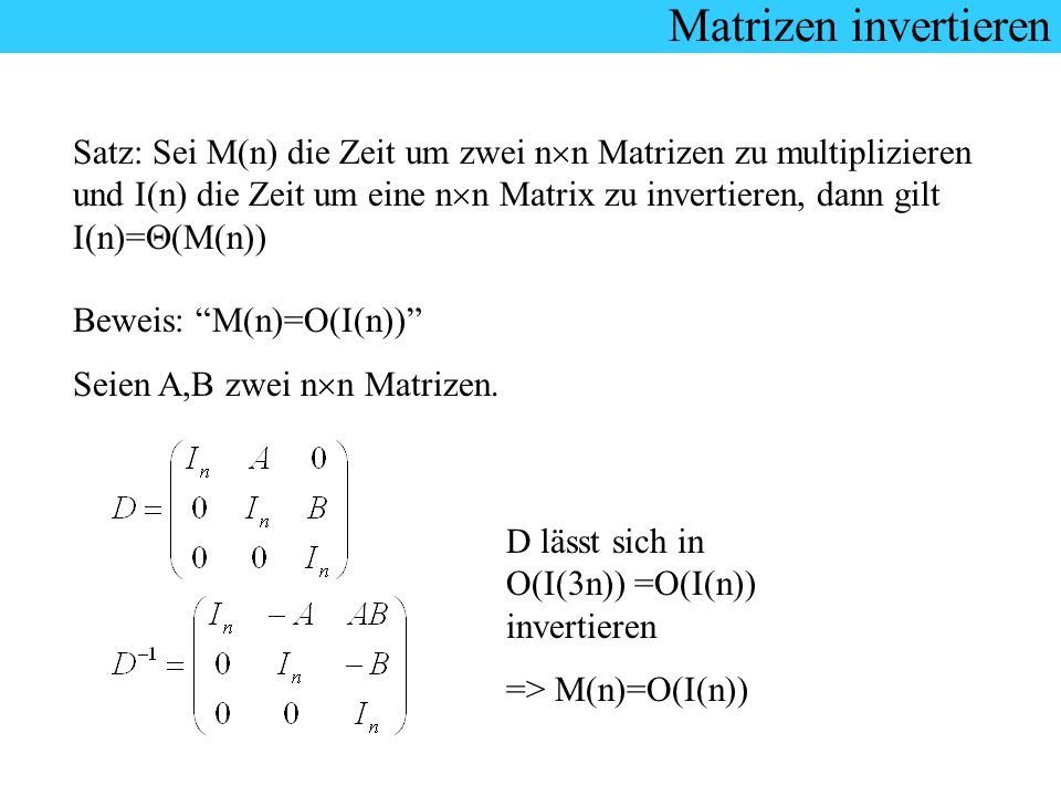 Matrizen invertieren