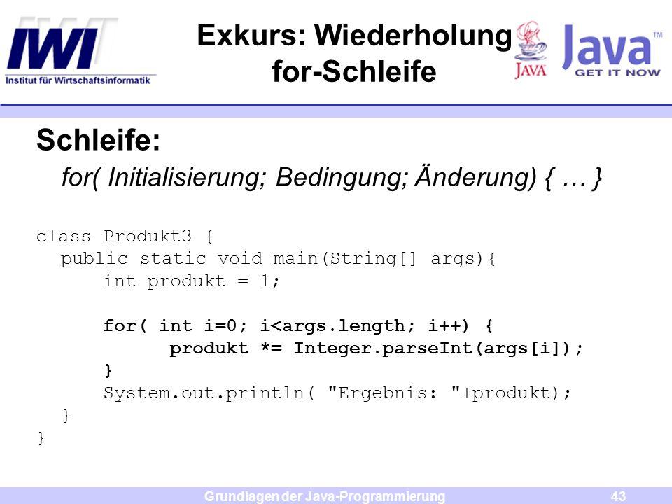 Exkurs: Wiederholung for-Schleife