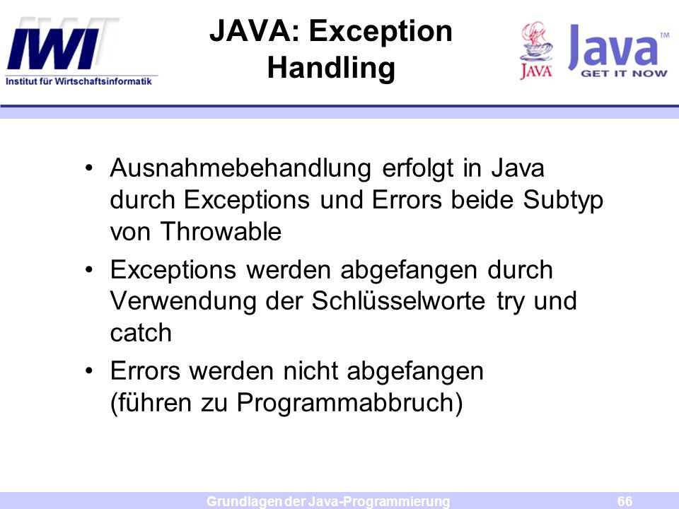 JAVA: Exception Handling