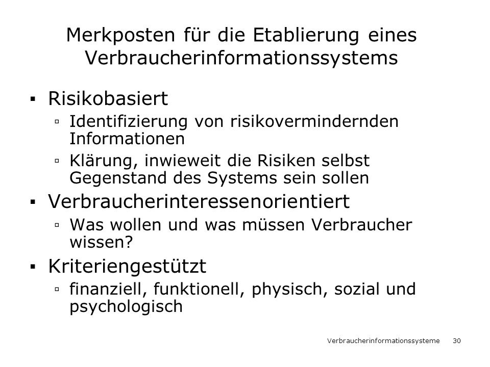 Merkposten für die Etablierung eines Verbraucherinformationssystems