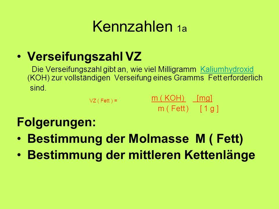 Kennzahlen 1a Verseifungszahl VZ Folgerungen: