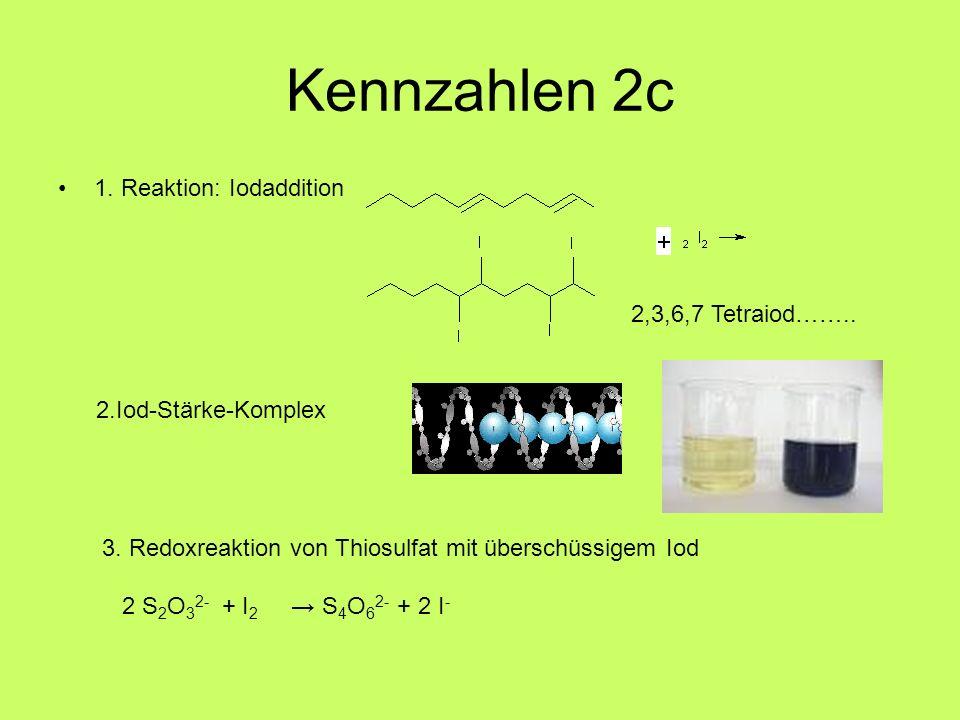 Kennzahlen 2c 1. Reaktion: Iodaddition 2,3,6,7 Tetraiod……..
