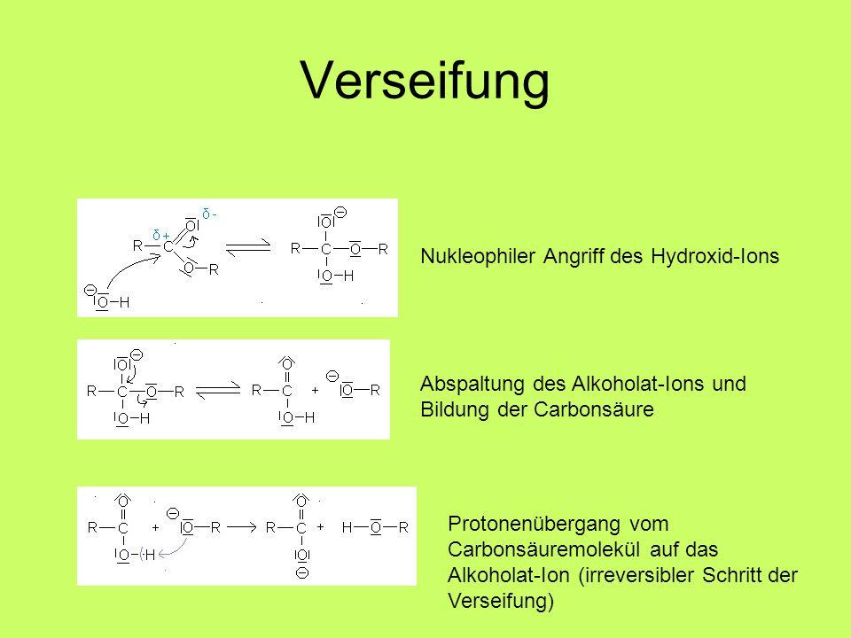 Verseifung Nukleophiler Angriff des Hydroxid-Ions