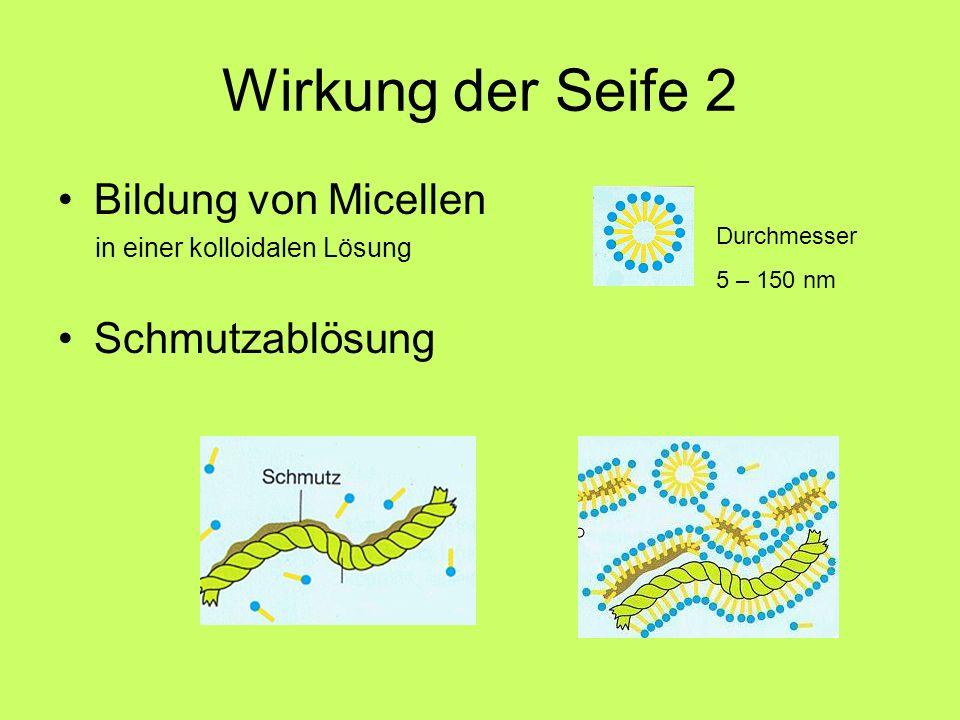 Wirkung der Seife 2 Bildung von Micellen Schmutzablösung
