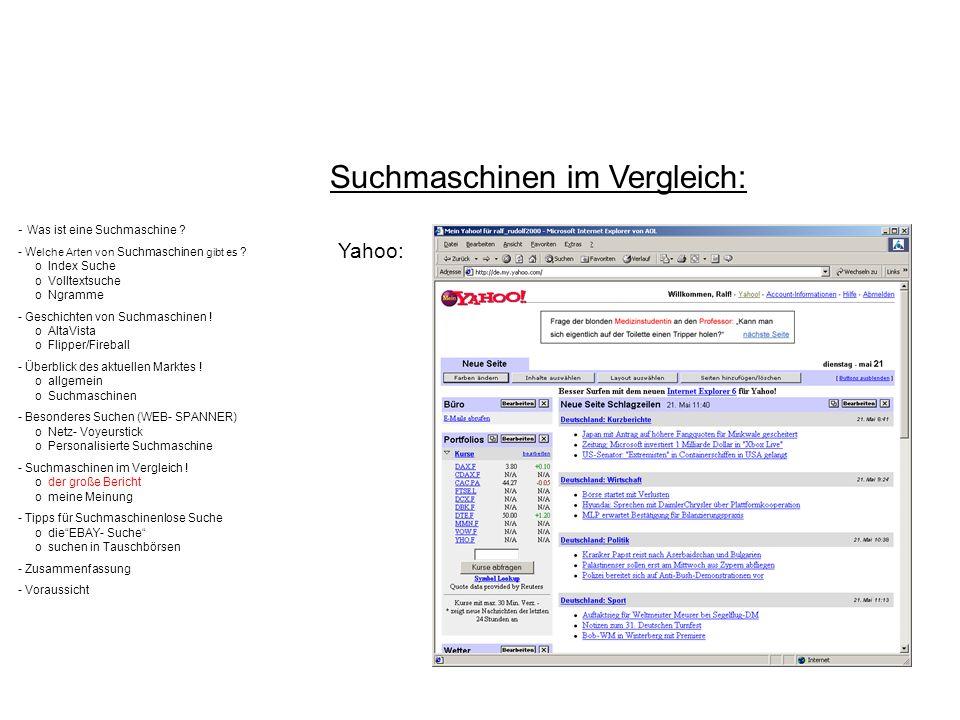 Suchmaschinen im Vergleich: