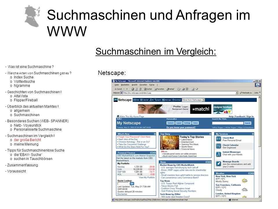 Suchmaschinen und Anfragen im WWW