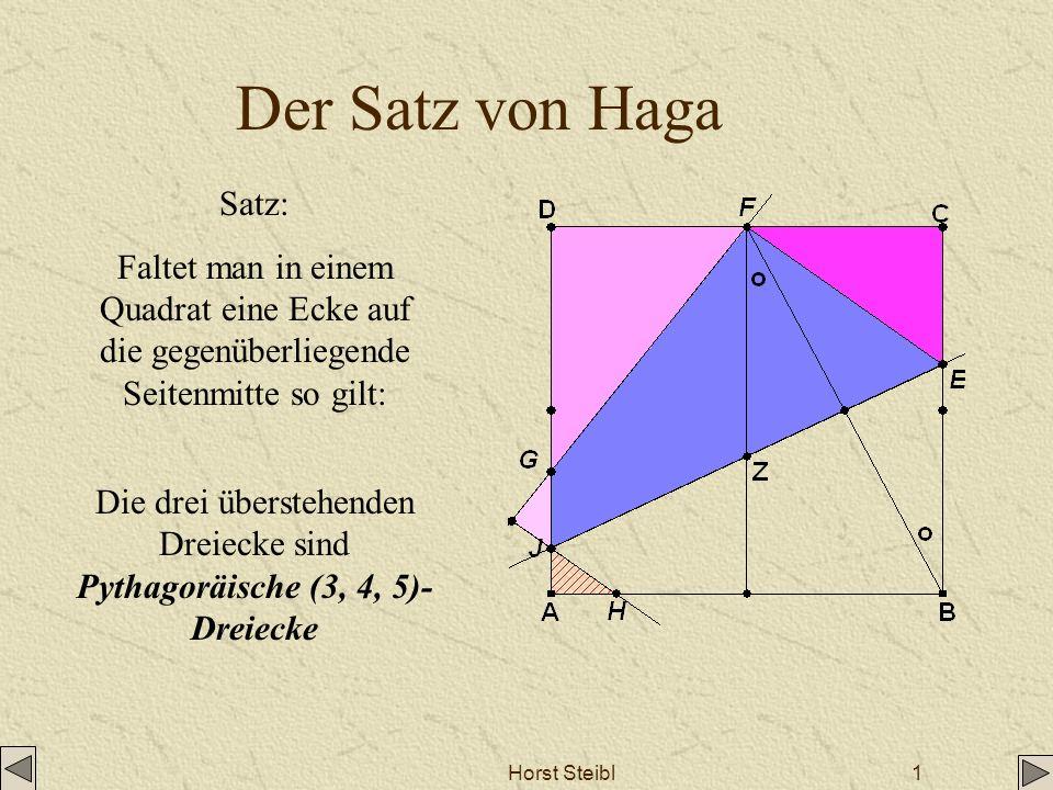 Die drei überstehenden Dreiecke sind Pythagoräische (3, 4, 5)-Dreiecke