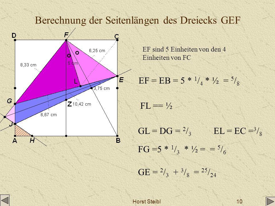 Berechnung der Seitenlängen des Dreiecks GEF