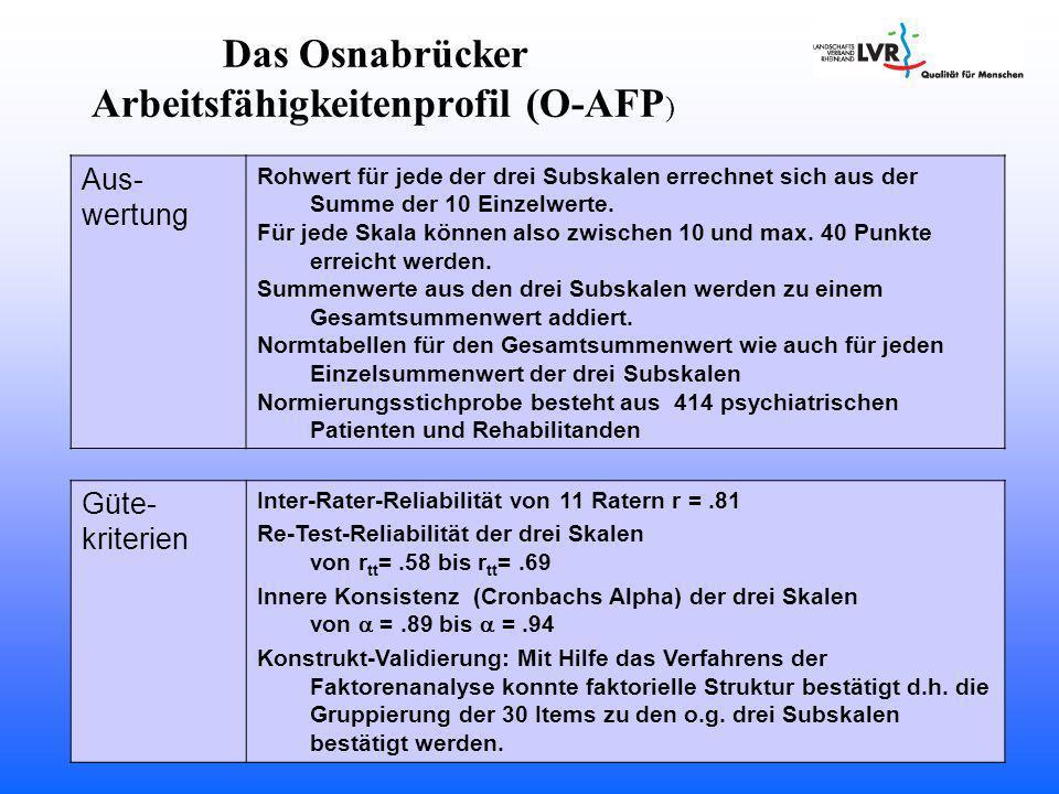 Arbeitsfähigkeitenprofil (O-AFP)