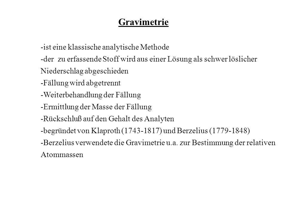 Gravimetrie -ist eine klassische analytische Methode