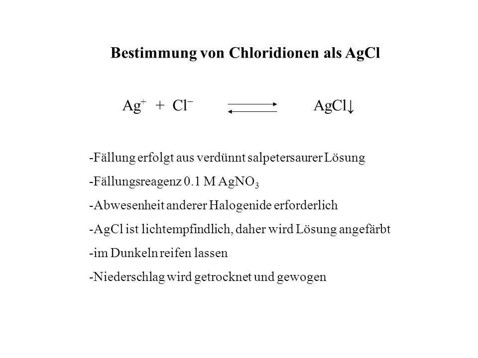 Bestimmung von Chloridionen als AgCl