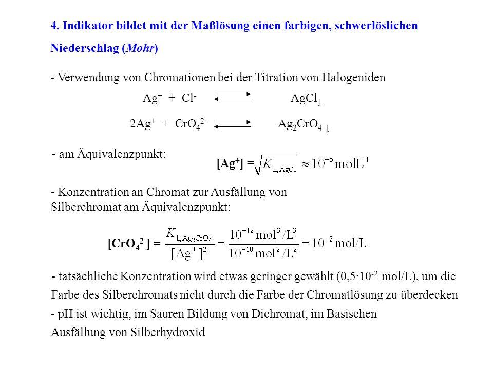 4. Indikator bildet mit der Maßlösung einen farbigen, schwerlöslichen Niederschlag (Mohr)
