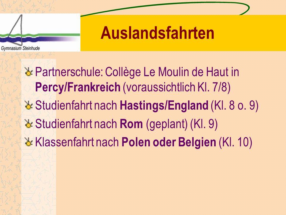 AuslandsfahrtenPartnerschule: Collège Le Moulin de Haut in Percy/Frankreich (voraussichtlich Kl. 7/8)