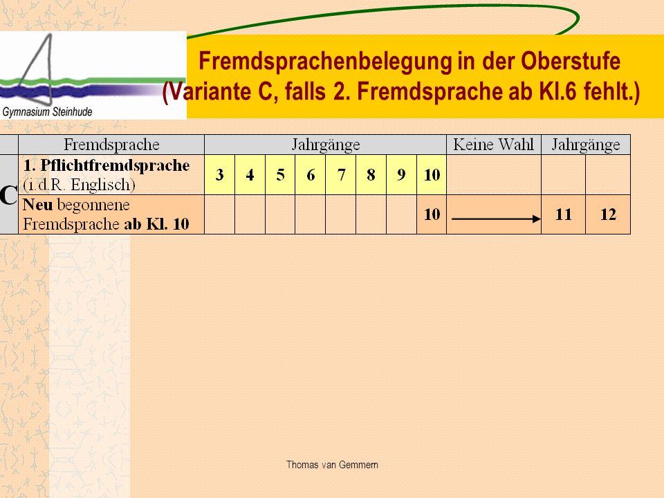 Fremdsprachenbelegung in der Oberstufe (Variante C, falls 2