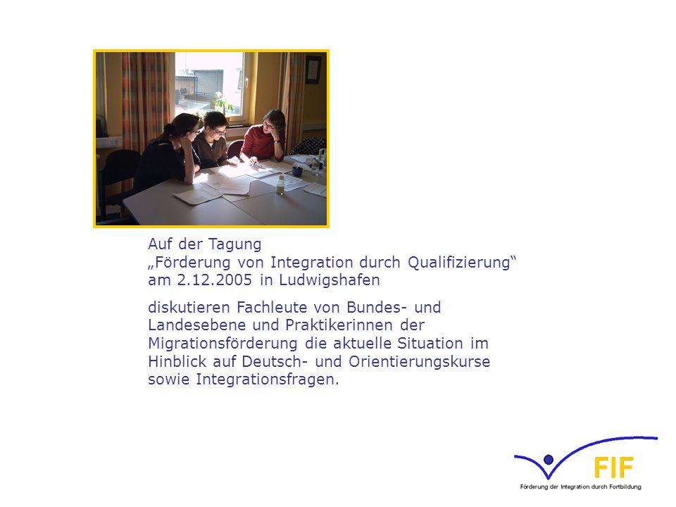 """Auf der Tagung """"Förderung von Integration durch Qualifizierung am 2"""