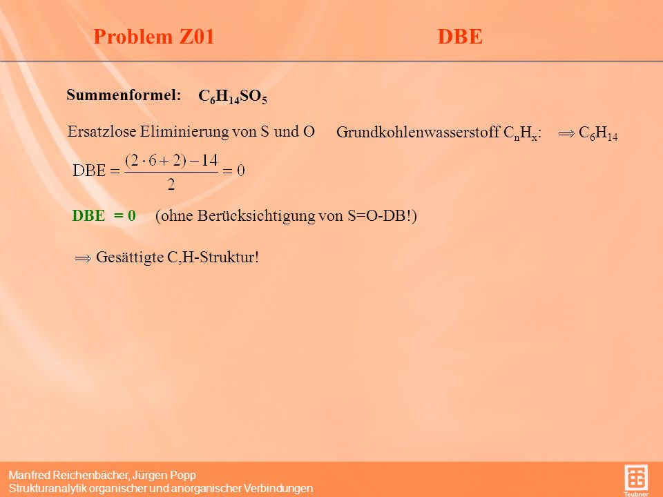 Problem Z01 DBE Summenformel: C6H14SO5
