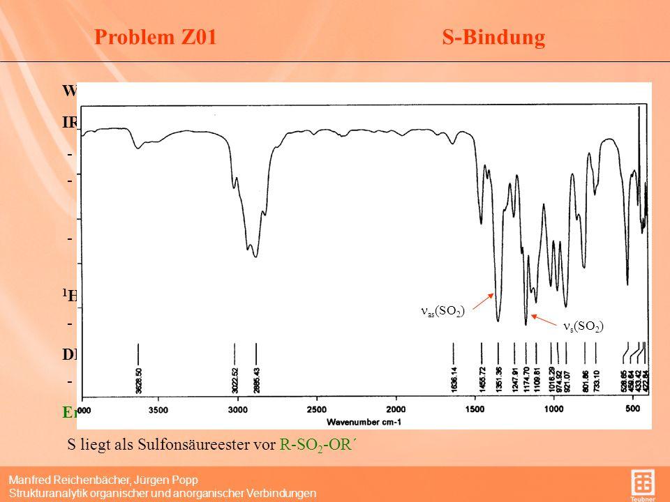 Problem Z01 S-Bindung Wie ist Schwefel gebunden IR-Spektrum: